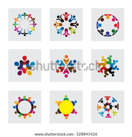 vector logo icons of people together - sign of unity, partnership, leadership, community, engagement, interaction, teamwork, team, children, kids, employees, meeting, playing, fun time - stock vector
