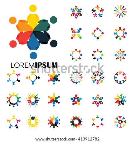 vector logo icons of people together - sign of unity, partnership. this also represents community, engagement & interaction, teamwork & team, children playing, kids fun, employees & staff, office, etc - stock vector