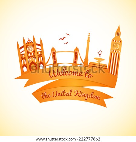 Vector logo landmarks of United Kingdom with ribbon and welcome message - stock vector