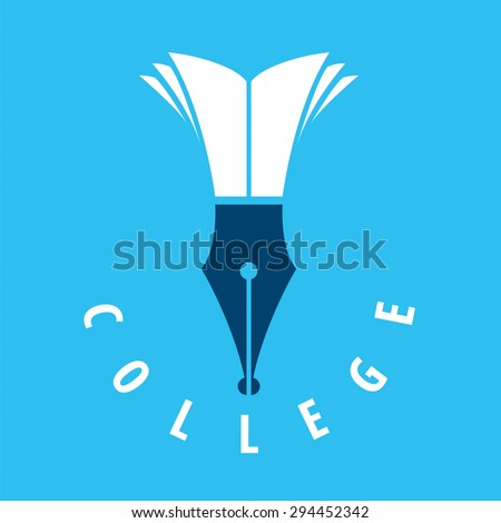 vector logo nib and books for college - stock vector
