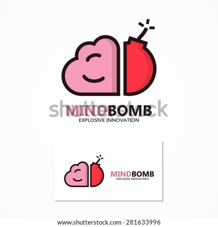 Vector logo or icon combination of brain and bomb - stock vector