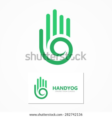 Vector logo or icon hand with a spiral  - stock vector