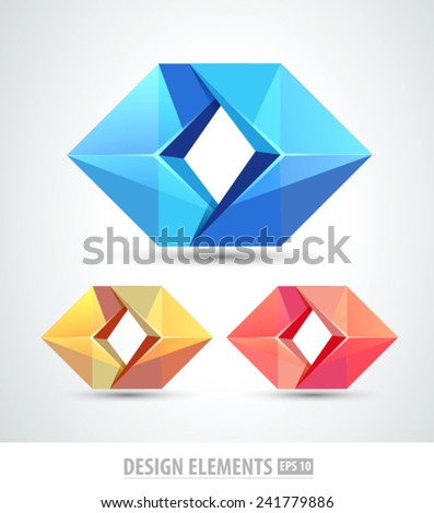 Vector logo origami icons. Design elements. Diamond. Abstract icons - stock vector