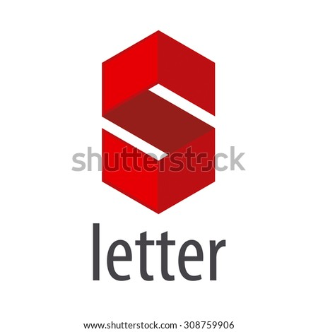 Vector Logo S letter in a red rhombus - stock vector