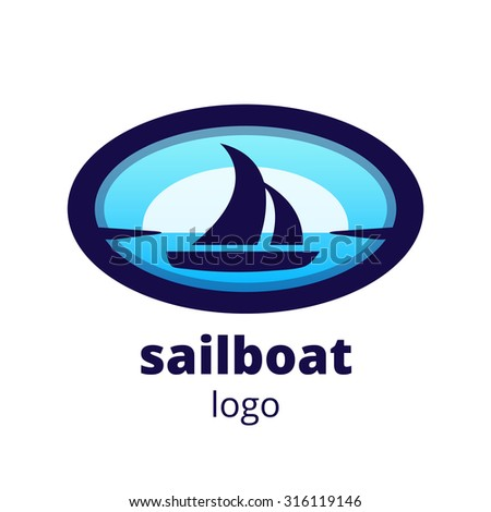 Vector logo sailboat on blue background
