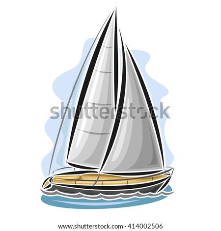 Vector logo sailing yacht, sailboat, sailer, gaff tender, gaff yawl, bermuda ketch, sloop, ship, sailing, boat, floating blue sea, ocean, waves. Cartoon sailing boat, sea regatta, yachting sport - stock vector