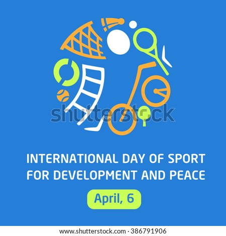 Vector logo sports school, club, shop for sports, competition sports. Silhouettes of a man sporting equipment. International day sport for development and peace. Symbolism, conceptual and brevity. - stock vector