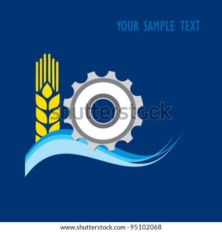 vector logo; wheat, hydro, industry combine for meet, conference, fair - stock vector
