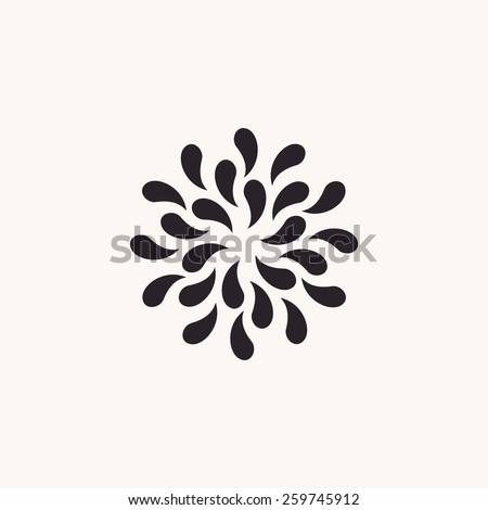 Vector logo white floral background. Silhouette plants drops black emblem - stock vector