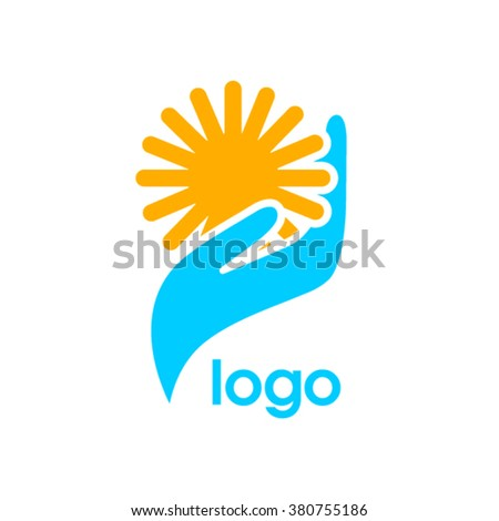 Vector logo with hand holding sun.  - stock vector