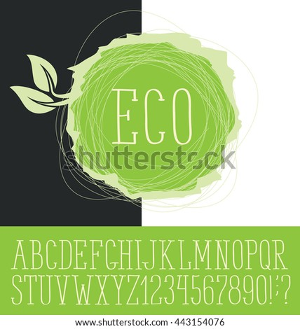 Vector logo with hand made font. With inscription Eco - stock vector