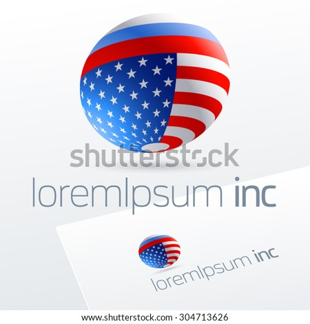 Vector logotype in sphere shape for international business, tourism and communications. Russia and United States of America