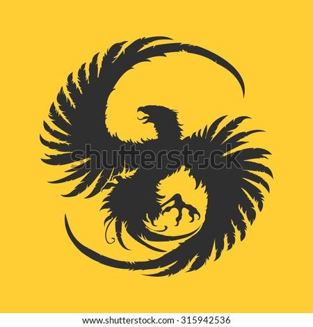 Vector logotype or illustration hawk, falcon or phoenix on yellow background - stock vector