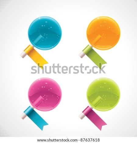 Vector lollipops with ribbons - stock vector