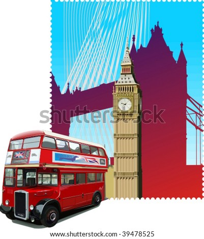 Vector London bus, vector illustration