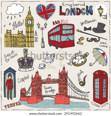 Vector  London landmark,symbols, lettering.Doodle Hand drawn sketchy.Famous architectural monuments ,sign,symbols , icons. Big Ben, Tower bridge.England vintage icons , background
