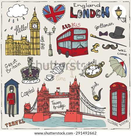 Vector  London landmark,symbols, lettering.Doodle Hand drawn sketchy.Famous architectural monuments ,sign,symbols , icons. Big Ben, Tower bridge.England vintage icons , background - stock vector