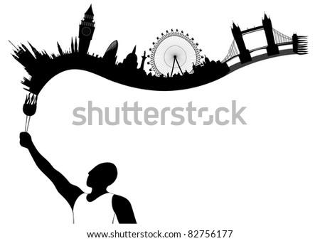 vector London skyline looks like undying flame - stock vector