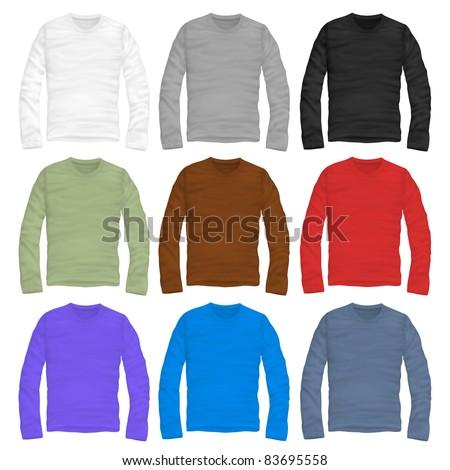 vector  long-sleeve shirt design template - stock vector