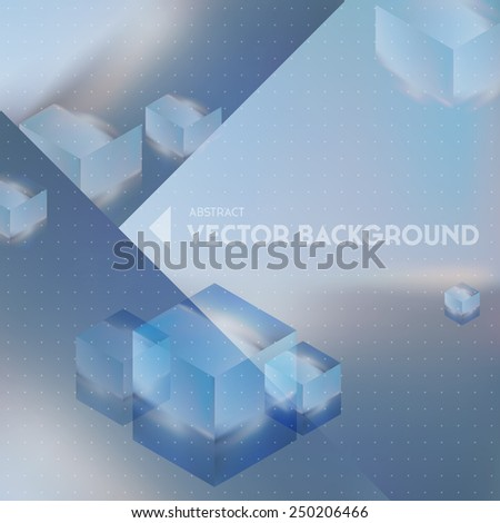 Vector looks like double exposure. Abstract futuristic background with flying cubes and blurred background. - stock vector