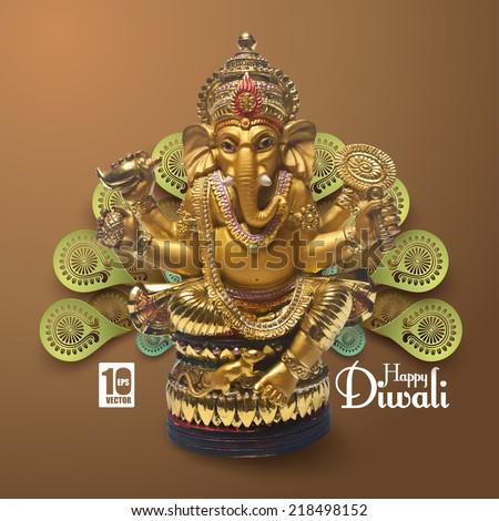 Vector Lord Ganesha.  - stock vector