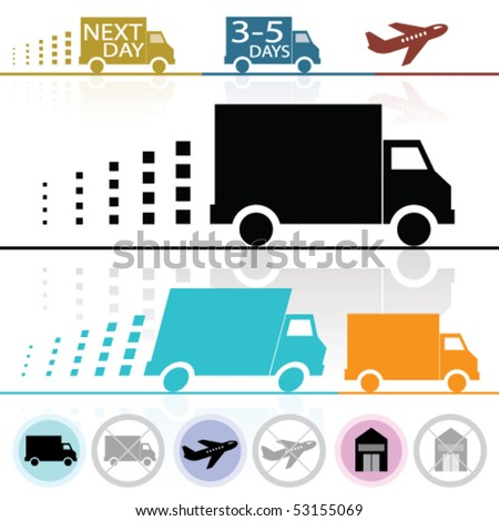 Vector Lorry/Van and Delivery Icons (each on separate layers) - stock vector