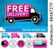 Vector lorry/van and delivery icons set with cut out coupon illustration, promotional banner and glossy button. - stock photo
