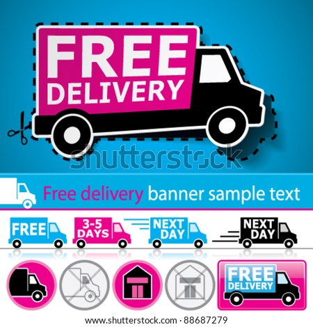 Vector lorry/van and delivery icons set with cut out coupon illustration, promotional banner and glossy button. - stock vector