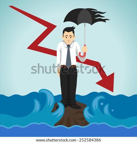Vector loser businessman illustration - stock vector