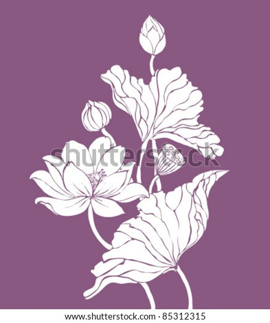 vector lotos on purple background - stock vector