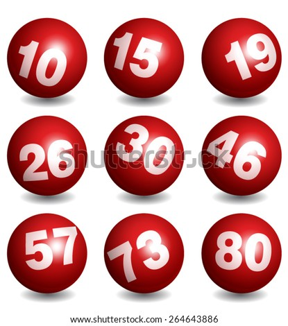 Vector Lottery / Bingo Number Balls Red Set