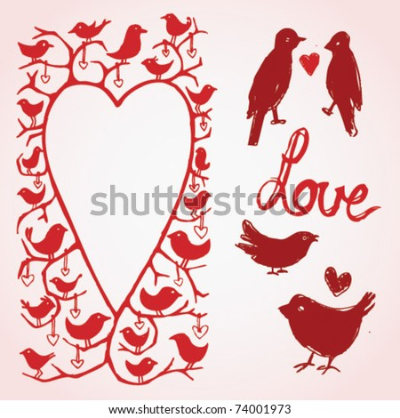 vector love birds heart frame and icons