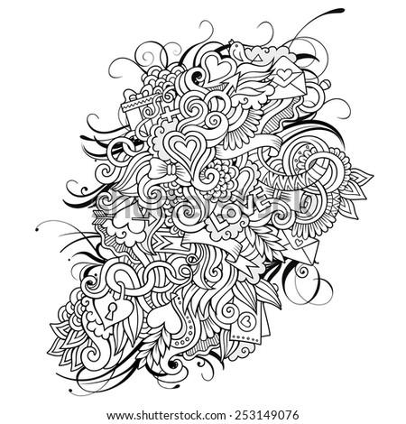 Vector love doodles sketch background - stock vector