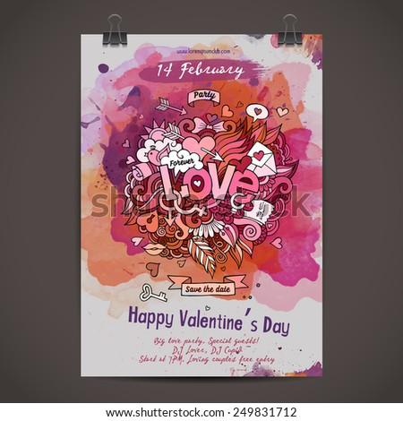 Vector love doodles watercolor paint party poster design - stock vector