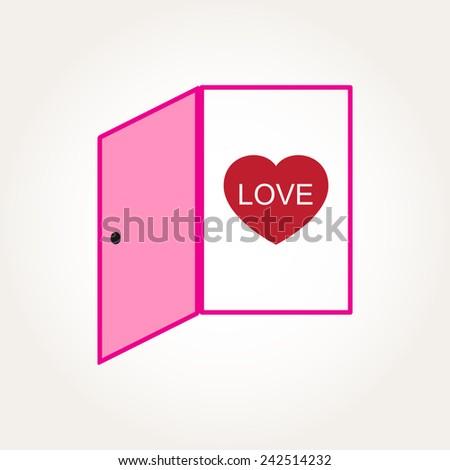 Vector Love Heart Door Open Mind Concept Illustration - stock vector