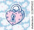 Vector love illustration with lock, hearts and clouds - stock vector