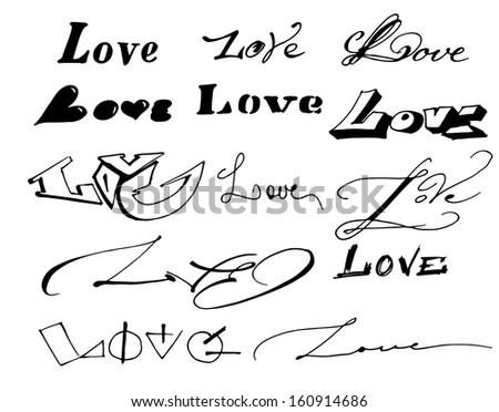 Vector  love inscription design.