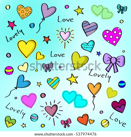 vector love pattern with hearts and bows with blue background
