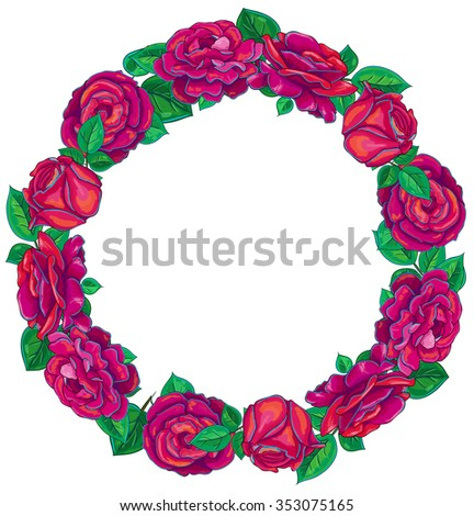 Vector Love Round Frame Red Rose Stock Vector HD (Royalty Free ...
