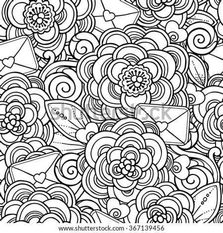 zentangle hand drawn coloring book page vector love seamless pattern in doodle style hearts flowers love letters ornate - Zentangle Coloring Book