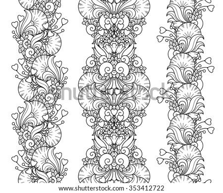 Vector love set seamless pattern borders in doodle style. Hearts, flowers, ornate elements. Floral, ornate, decorative, tribal design elements. Black and white background. Zentangle coloring book page - stock vector