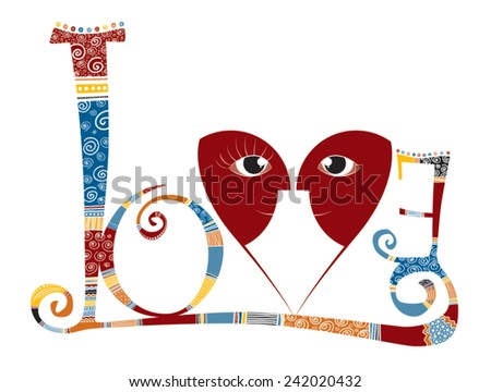 Vector - Love - Stylized word with v heart and faces Colored - stock vector