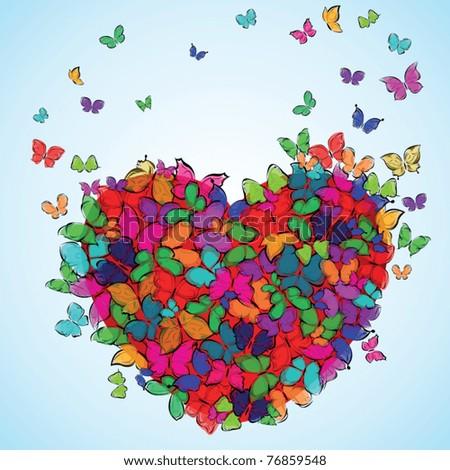 vector love summer background butterfly valentine - stock vector
