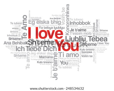 "Vector love words ""I love you"" in all languages of the world, words cloud - stock vector"