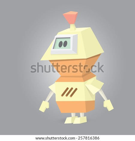 vector low poly Cartoon Character Cute Robot Isolated on white