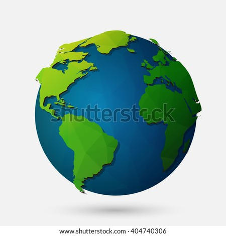 Vector low poly earth illustration. Polygonal globe icon. - stock vector
