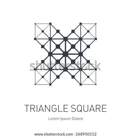 Vector low poly logotype template. Modern stylish logo. Design element with squares, triangles and rhombus. Grid structure. Stylized letter X. - stock vector
