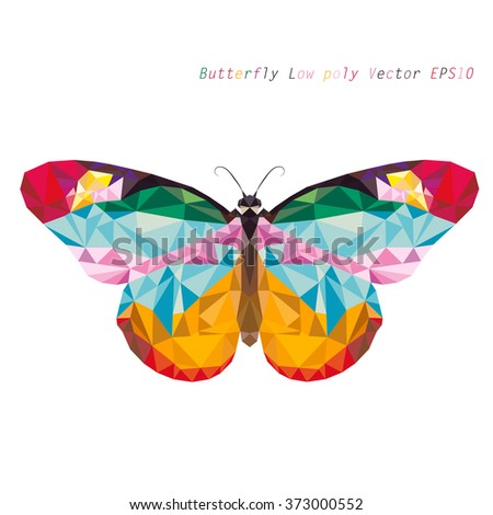 vector low poly Monarch butterfly on white background - stock vector