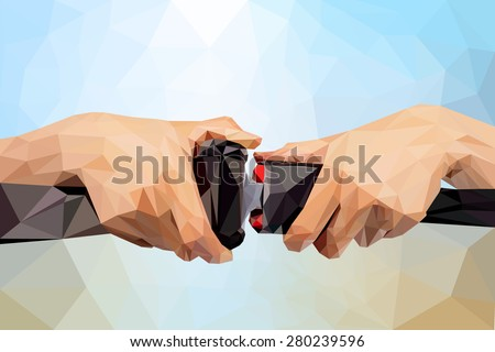 Vector low poly safety belt concept ,Abstract  two hand use safety belt on colorful blurred background - stock vector