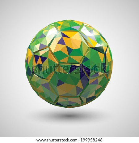 Vector low poly style soccer ball shaped by triangles with the Brazilian flag's colors - stock vector